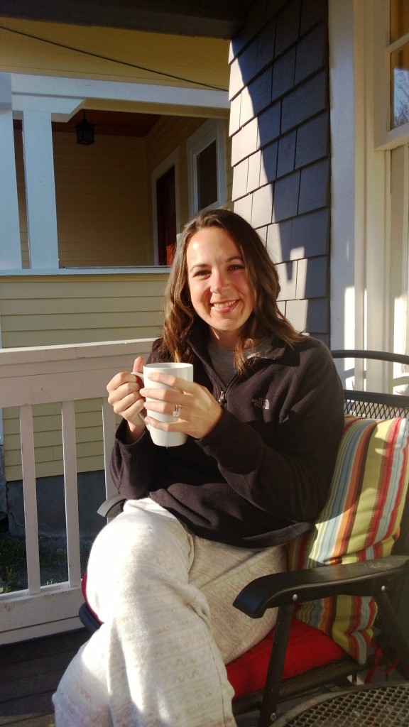 Birthday coffee in the sunshine on our front porch