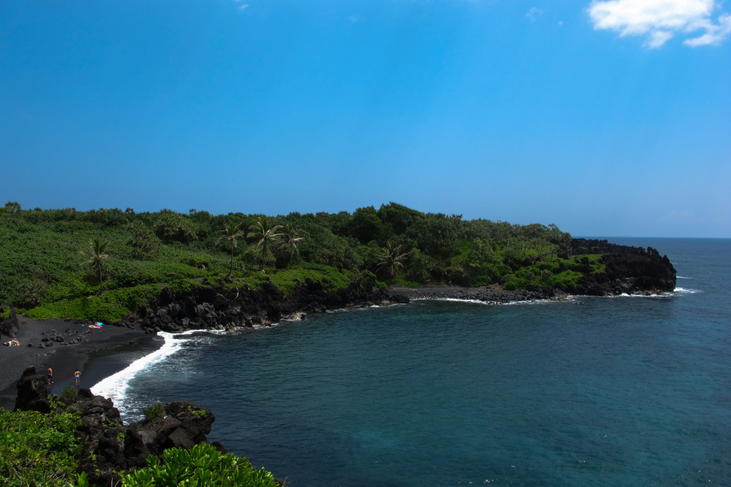 Waianapanapa State Park with a neat black sand beach