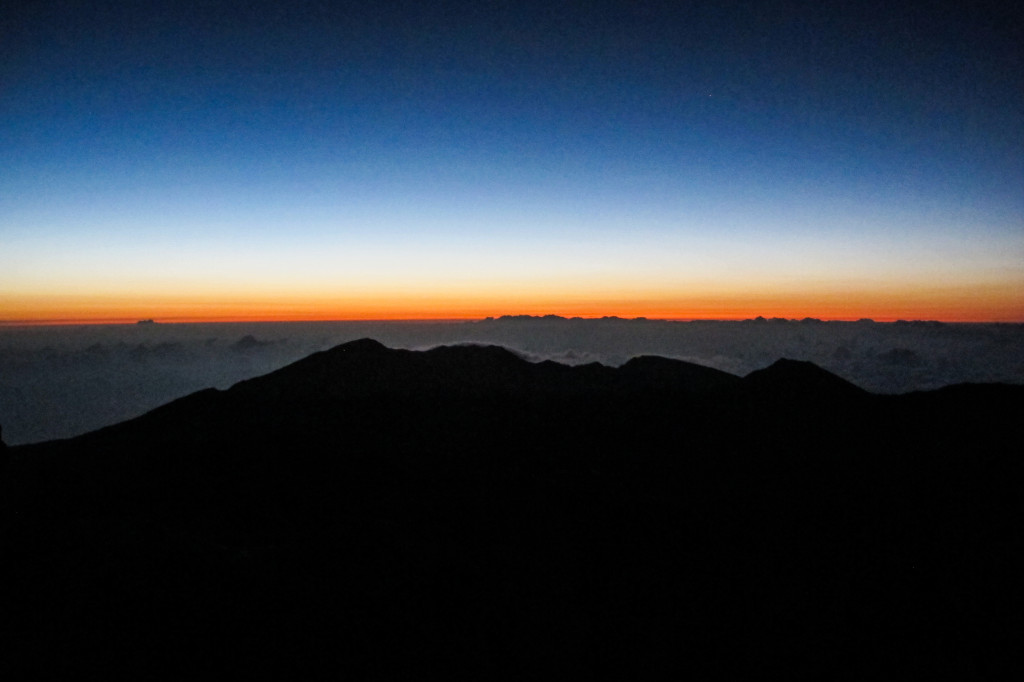 We woke up at 2:30 a.m. on our vacation to drive up 10,000 feet to Haleakala National Park and watch the sunrise over the Haleakala Crater. Very cool.