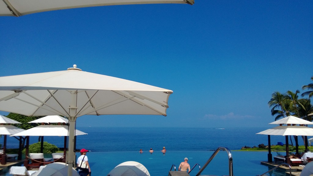 Here is the view from our chairs at the infinity pool. This was paradise!