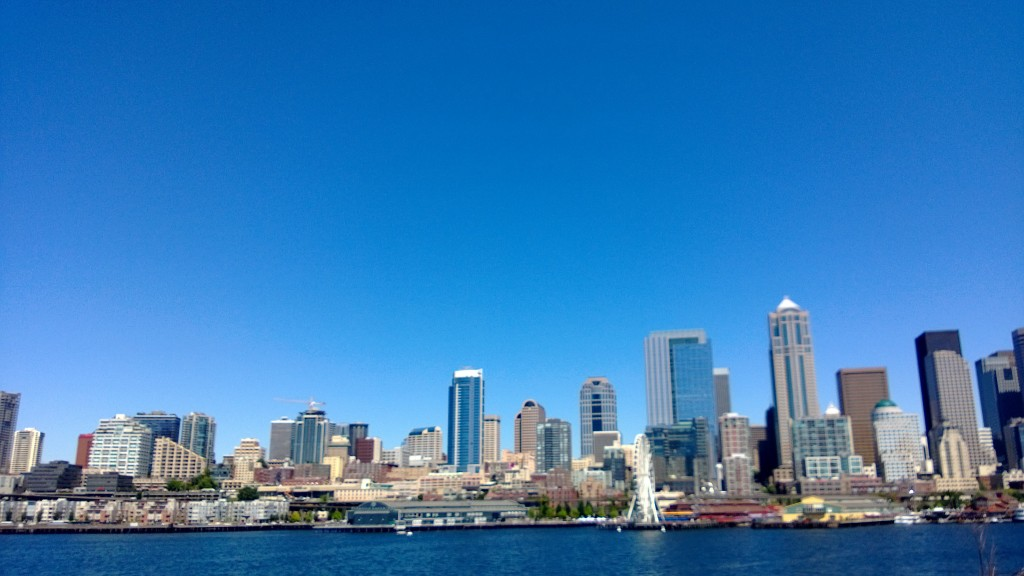 I took a ferry ride to Bainbridge Island today for work. Here's a shot of the city from the ferry deck.