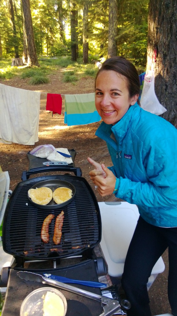 Pancakes and bacon on the grill.
