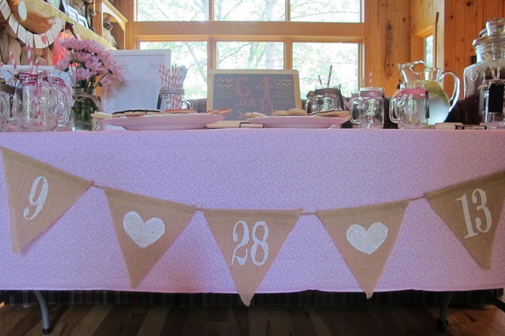 Adorable bunting with their wedding date.