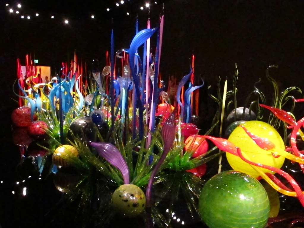 Chihuly's glass exhibit depicting a garden.