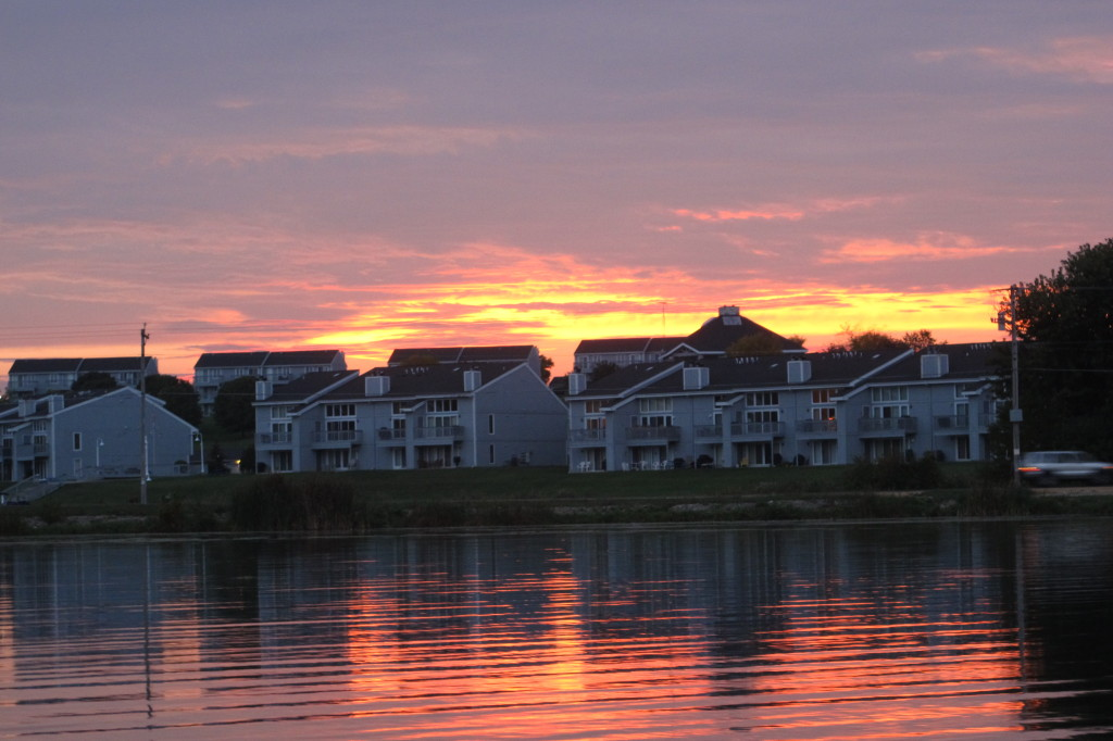 The Allen's condo complex in the sunset.