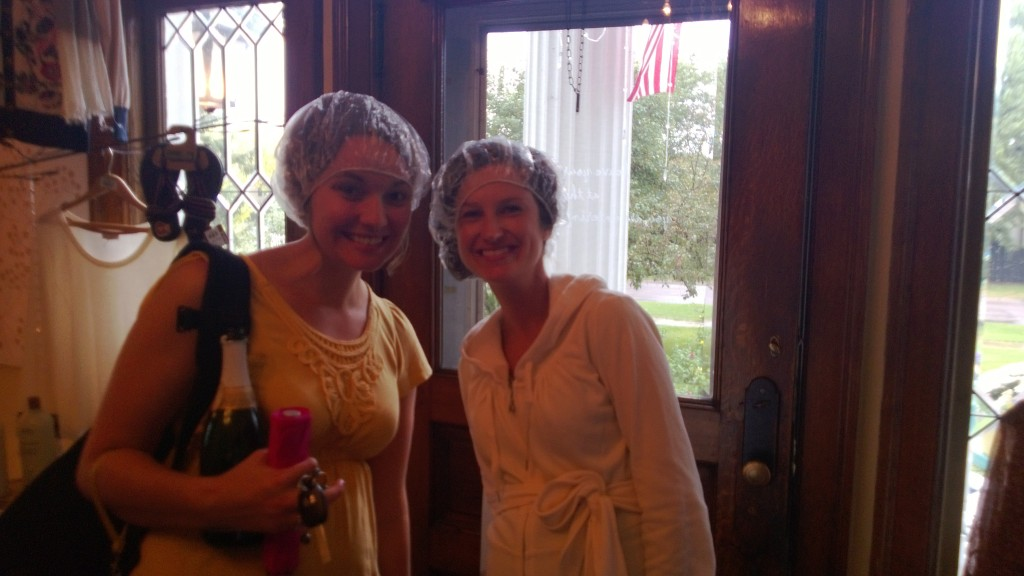 Kailey and Anne in their shower caps.