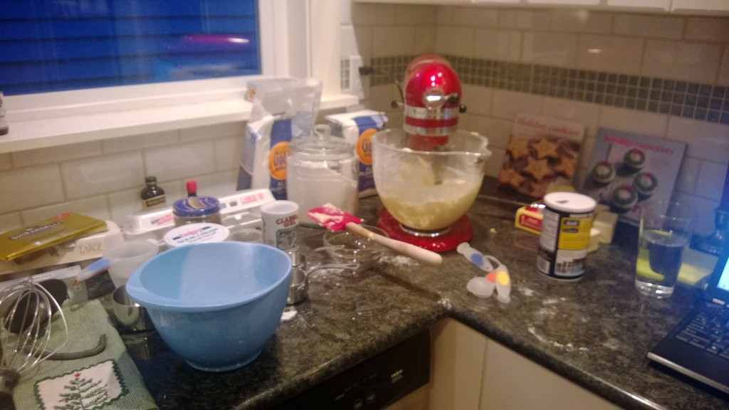 The kitchen always turns into a disaster when I bake.