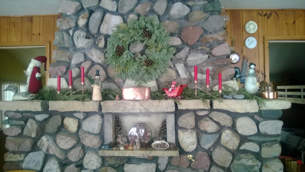 Hearth decorated for Christmas