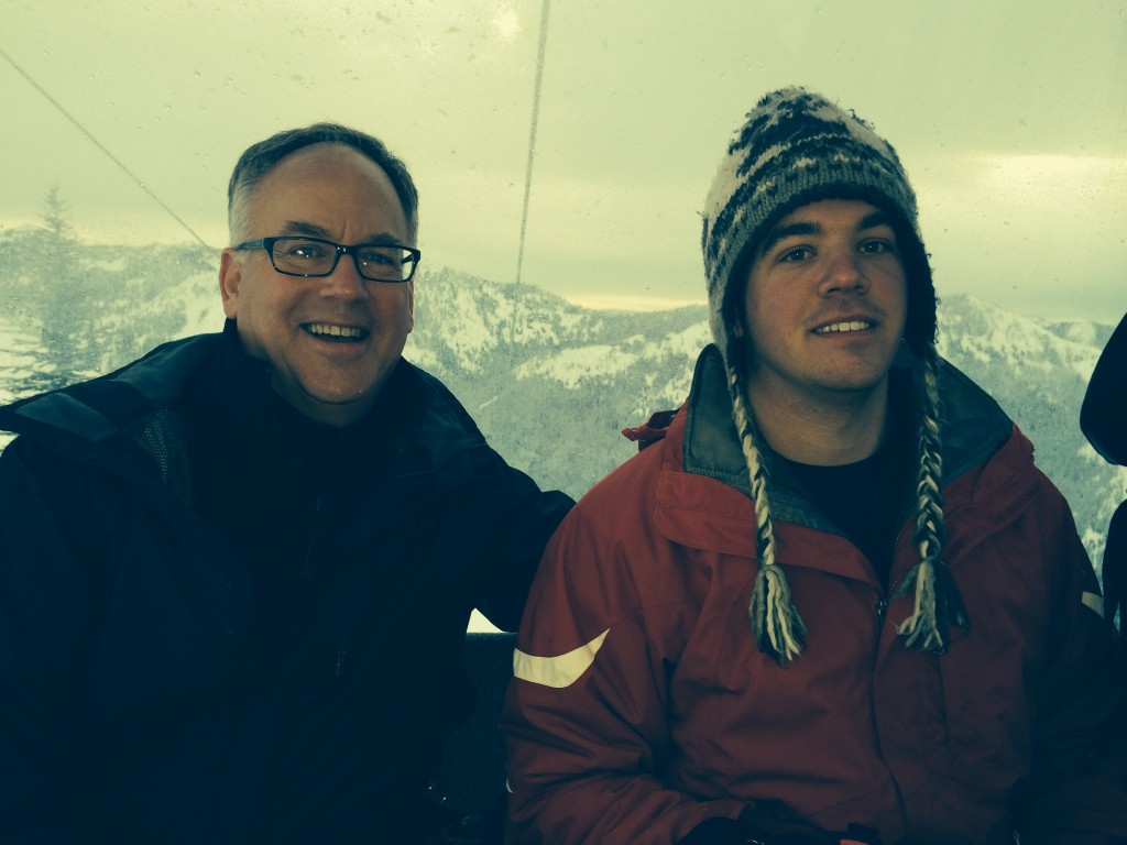 {Fred & John riding the gondola up to do the First Tracks breakfast at Crystal Mountain}