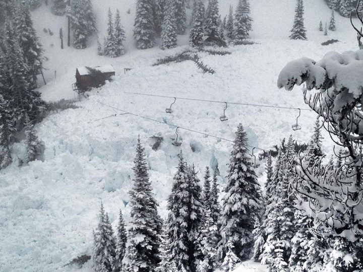 Avalanche debris that took out the High Campbell chair lift at Crystal Mountain