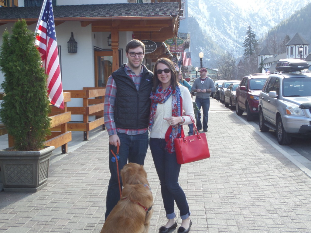 Leavenworth photo opp with the mountains in the backdrop