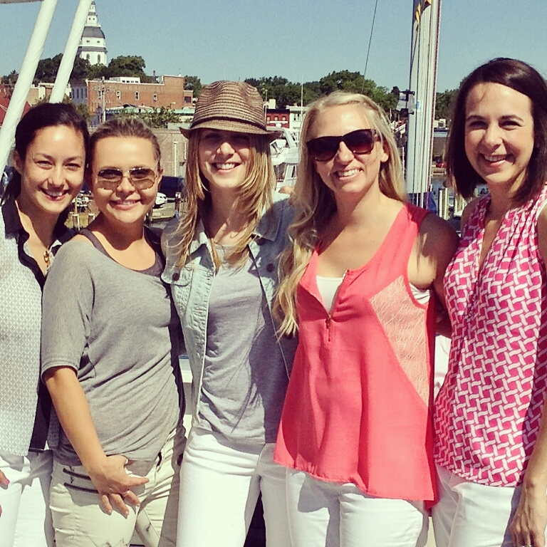 White pants party on a boat