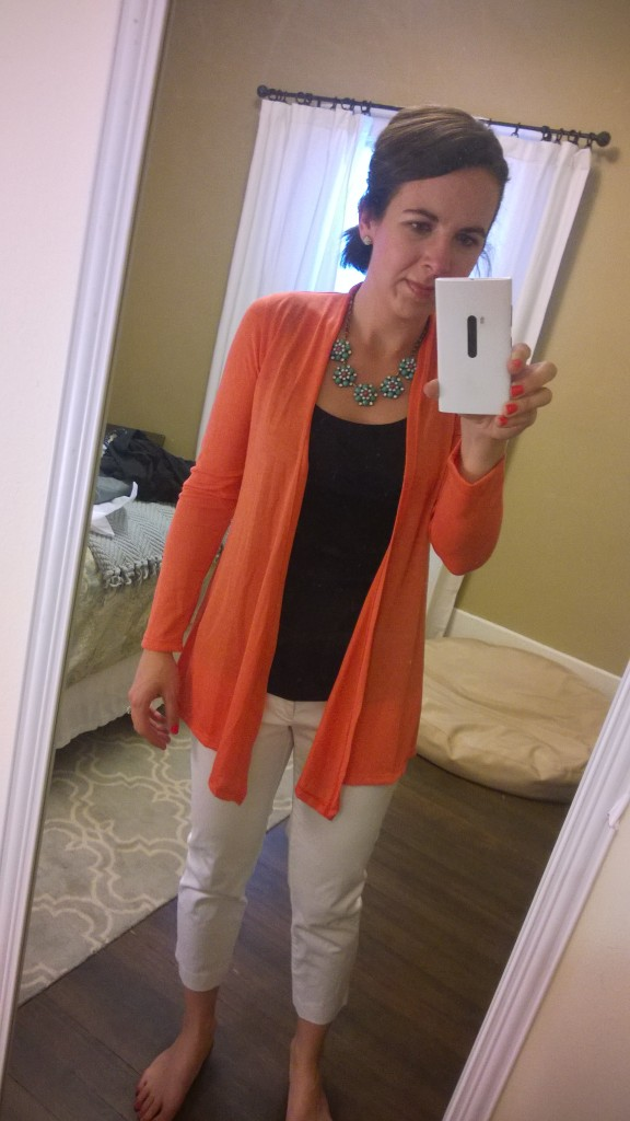 I really like this orangy cardigan - the only trouble is I have one just like it!