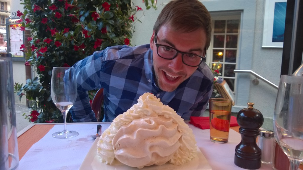 {this was our dessert at the fondue restaurant - a gigantic merengue covered in whipped cream with an ice cream center. Yes we ate the whole thing.}