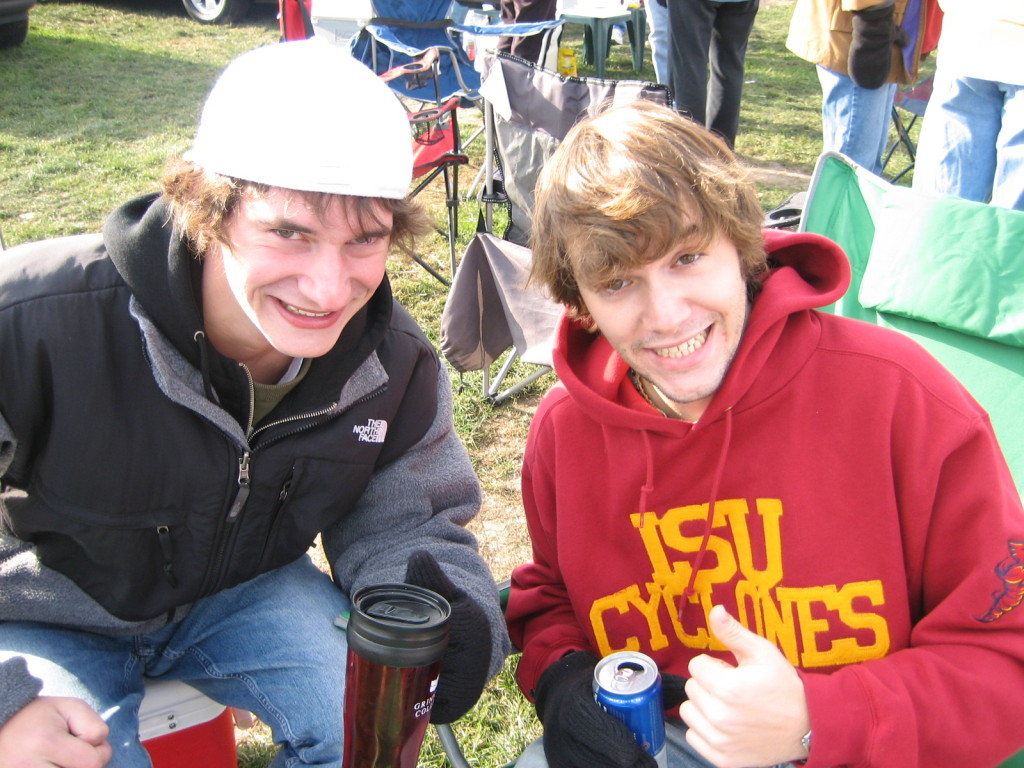 {Bryan and Alex cheering on the always losing Cyclones}