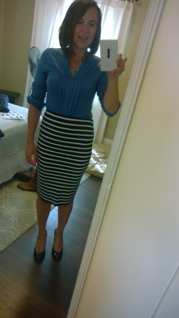 {Blue top - they suggested pairing it with a black/white striped skirt, which conveniently I own}