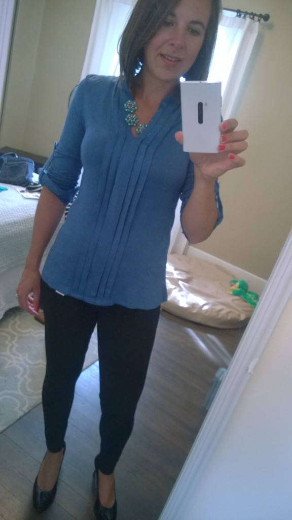 "{Here's the blue top with black ""skinny jeans"" that are really leggings... sneaky!}"