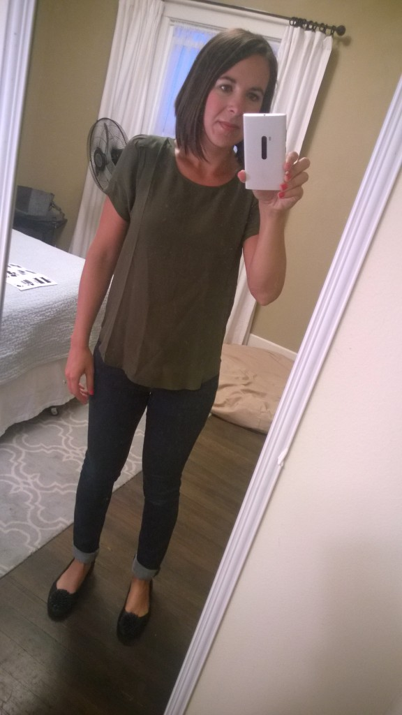 {military green top w/ my own jeans - I really don't like this color in the slightest bit, but Alex does and it's something different I guess??}