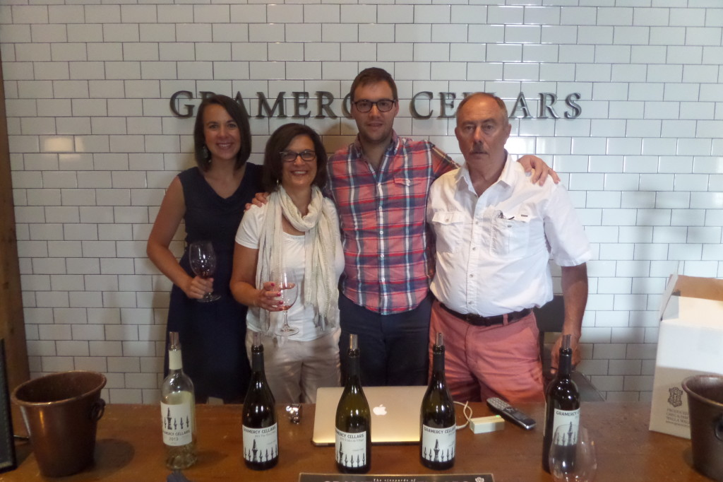 {after a filling breakfast on Saturday we headed out to downtown Walla Walla to start our day of drinking. The first stop was Gramercy Cellars. The winemaker was just named the best in the state by Seattle Magazine! They had very big, old-style wines that were fantastic}