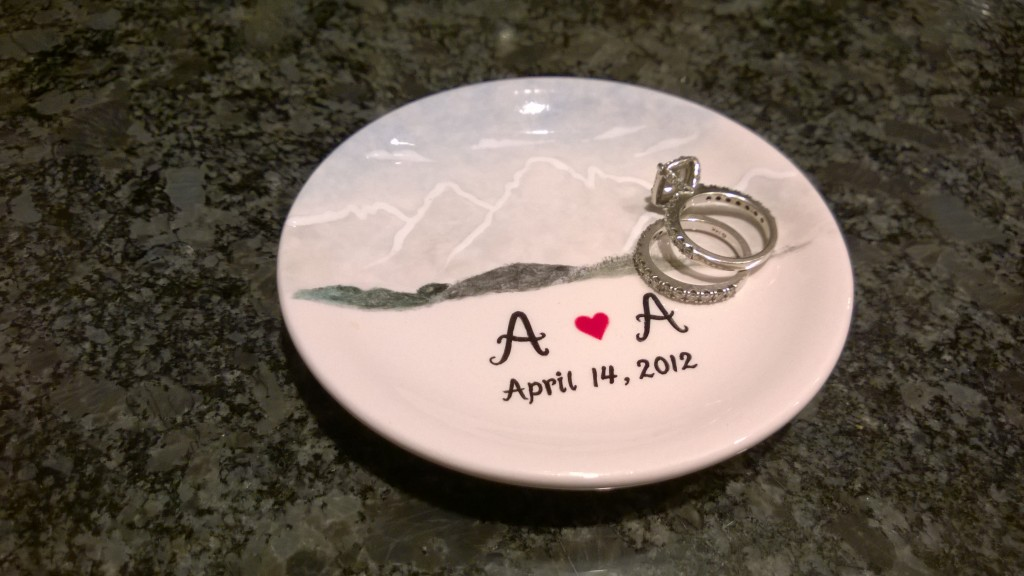 {A surprise gift was the precursor to our weekend... Alex got this custom dish for me to keep my rings in while I am cooking. I just adore it!}