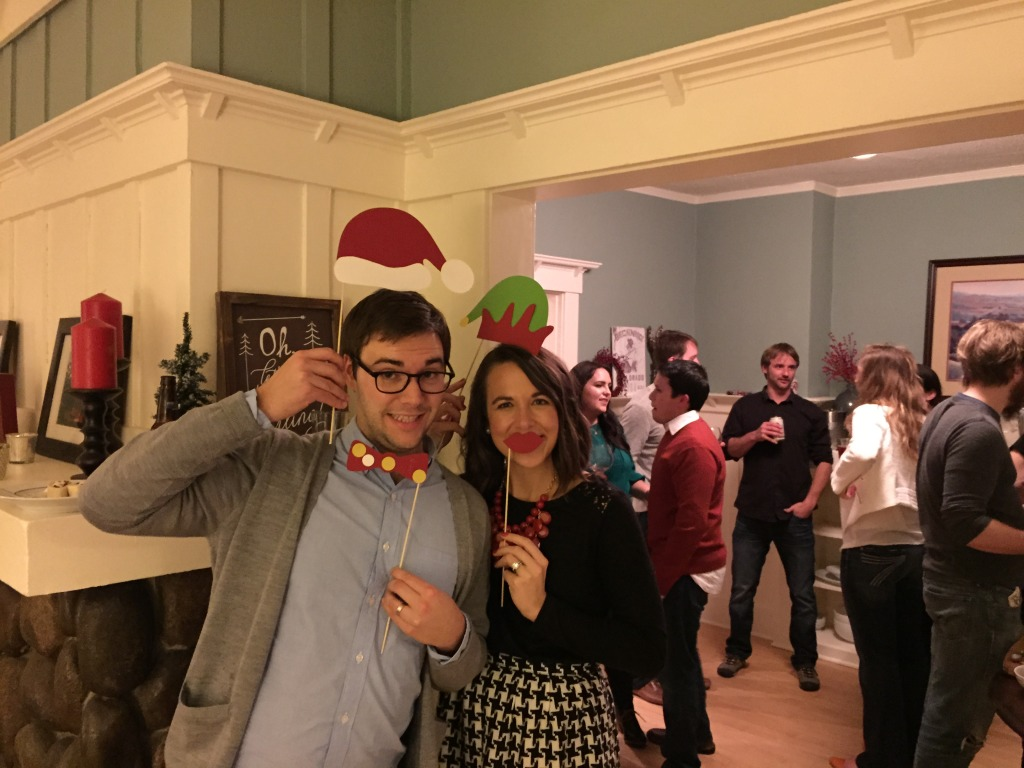 {Enjoying the holiday festivities at our first annual holiday party}
