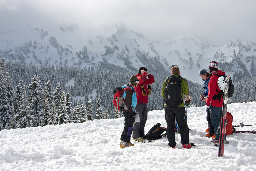 {Alex got into backcountry skiing a while back and has taken several avalanche safety courses.}