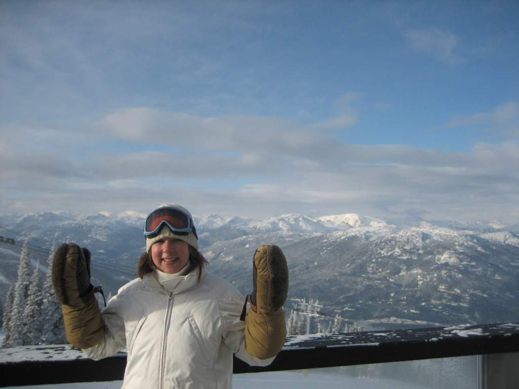{We fell in love with Whistler back in 2008, even with the temperatures down to 30 below zero, hence the gigantic mitts on my hands.}