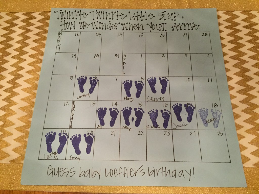 {I made a little calendar so people could guess when the baby would arrive}