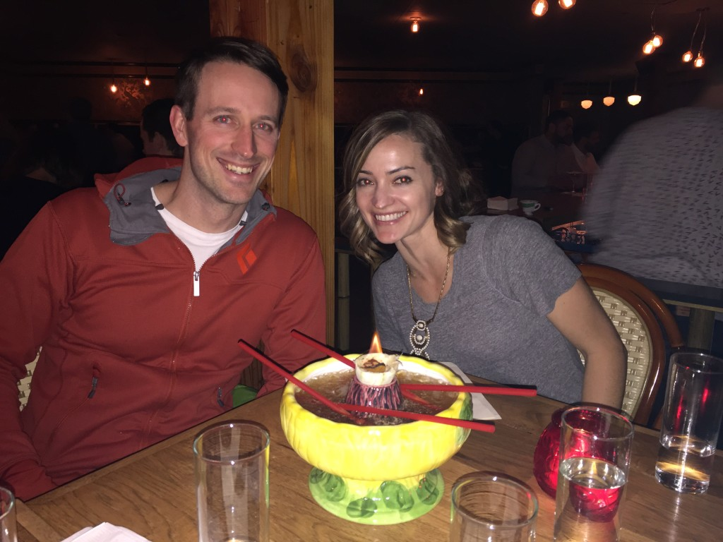 {We went out in Ballard with four other couples and had an awesome time! Mary, Ian, Ryan, Alex and I shared this weird lava punch bowl - it arrived to us on fire!}