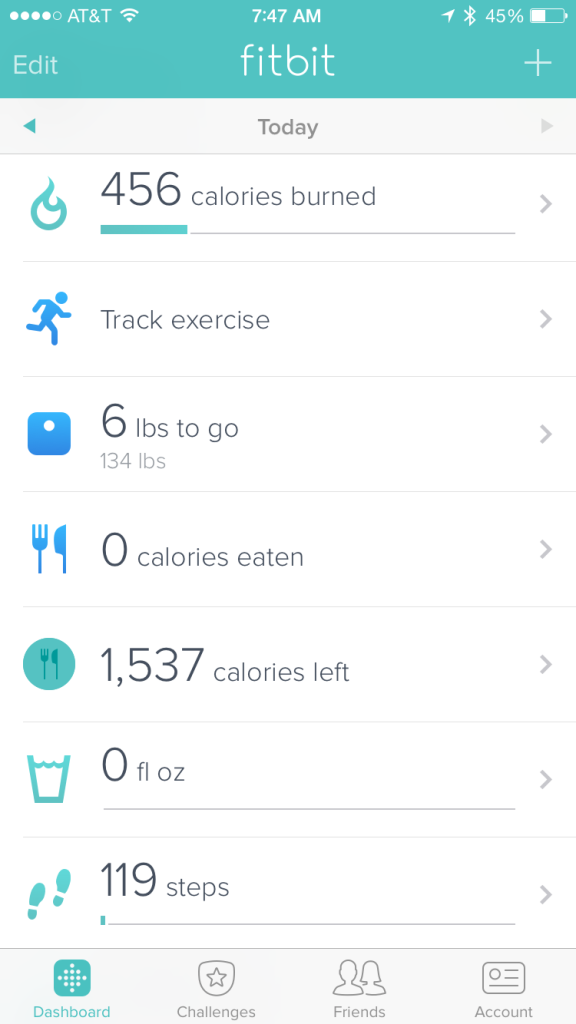 {screenshot of the FitBit app on my phone - this was clearly at the beginning of the day :)}