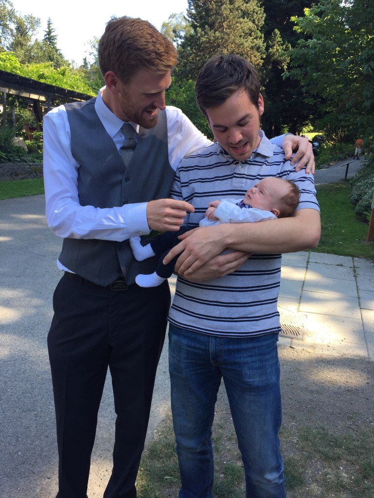{Jon and John hanging out with baby Henry}