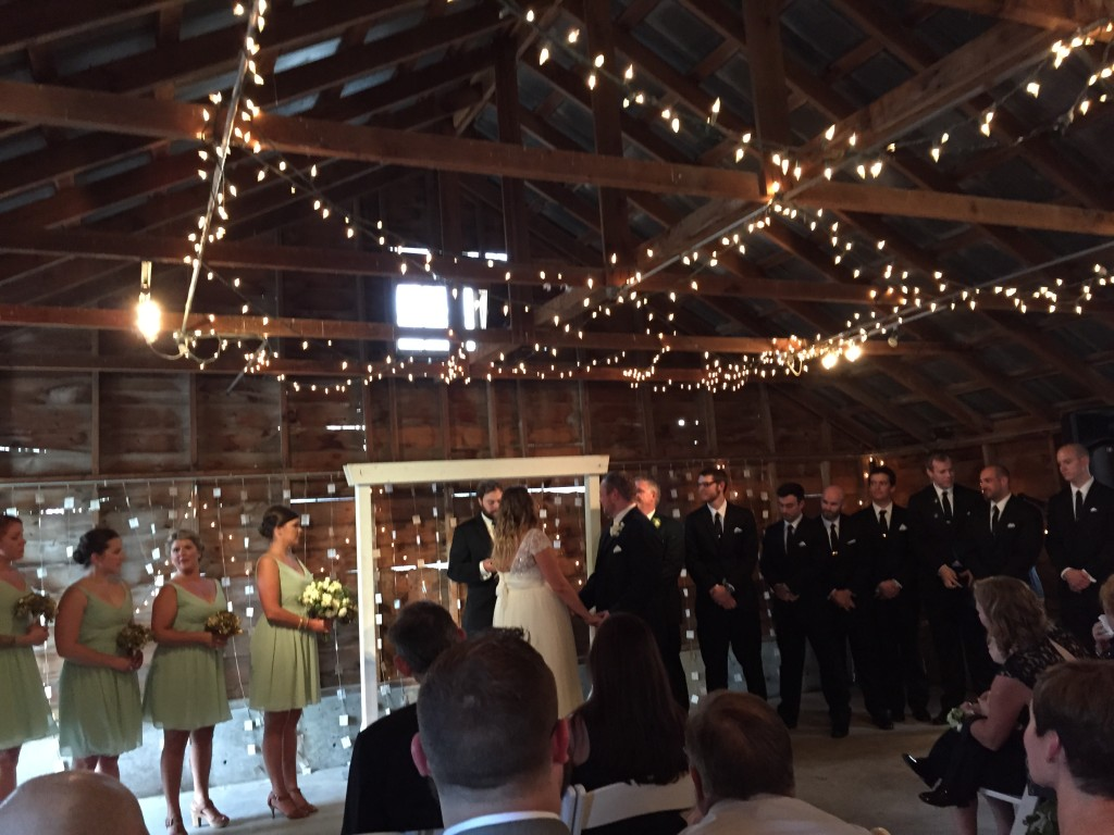{inside the barn where the ceremony took place}