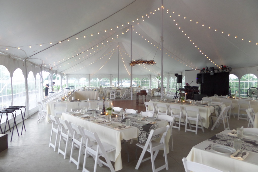 {the reception tent - thank goodness we had a covered spot because it POURED later on in the evening}