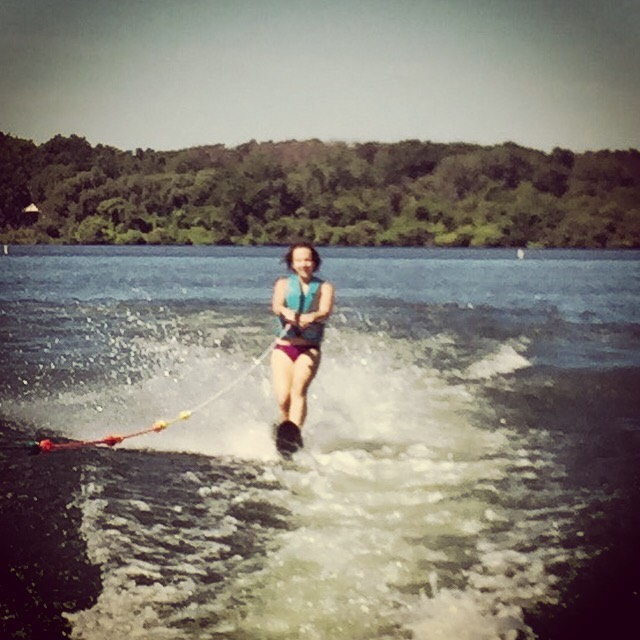 {we saved our water ski day for the last morning and all four of us took turns water skiing.}