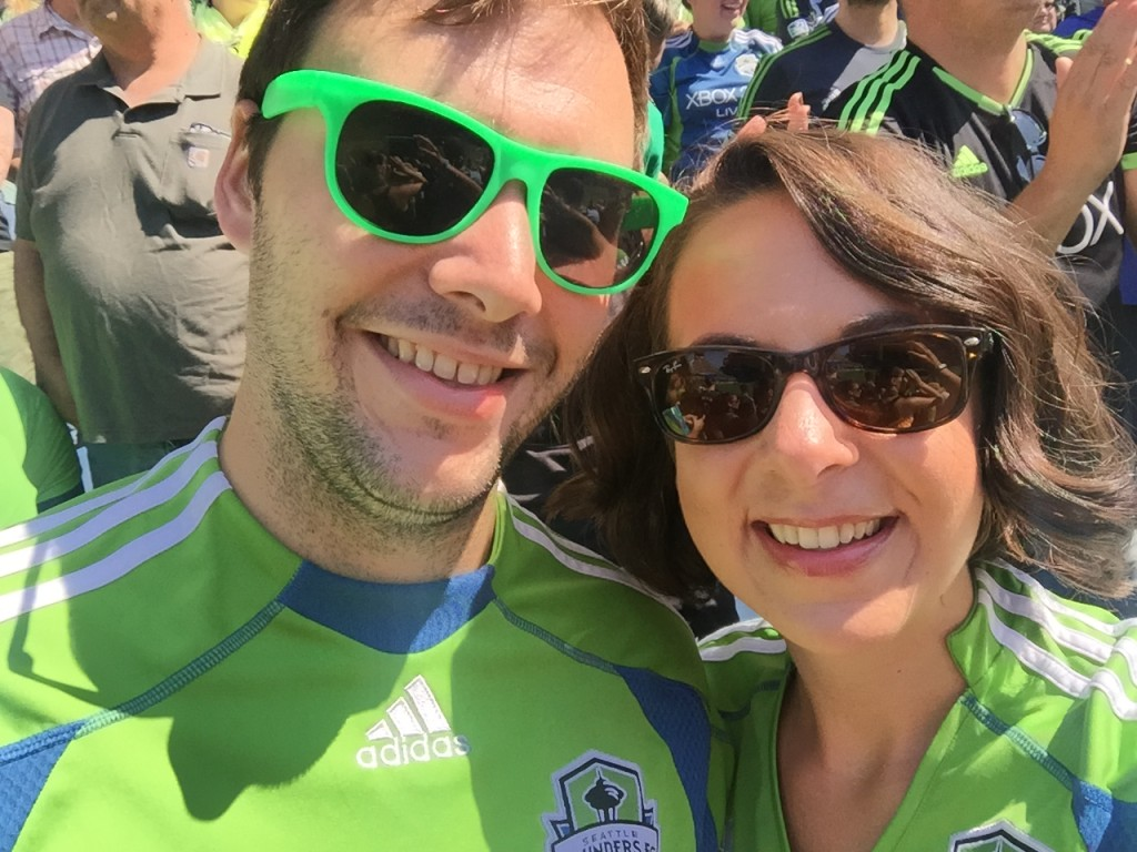 {We had a great day in the sun at a recent Sounders soccer game.}