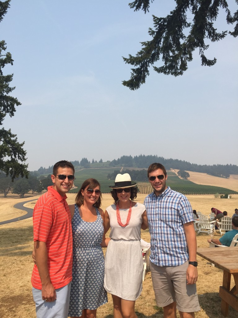{Alex and me with Mike and Sarah at one of the wineries we went to on our trip to Oregon!}
