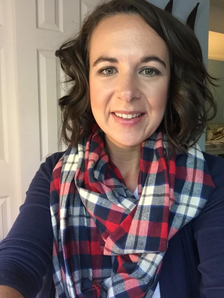 {selfie with my new plaid scarf!}