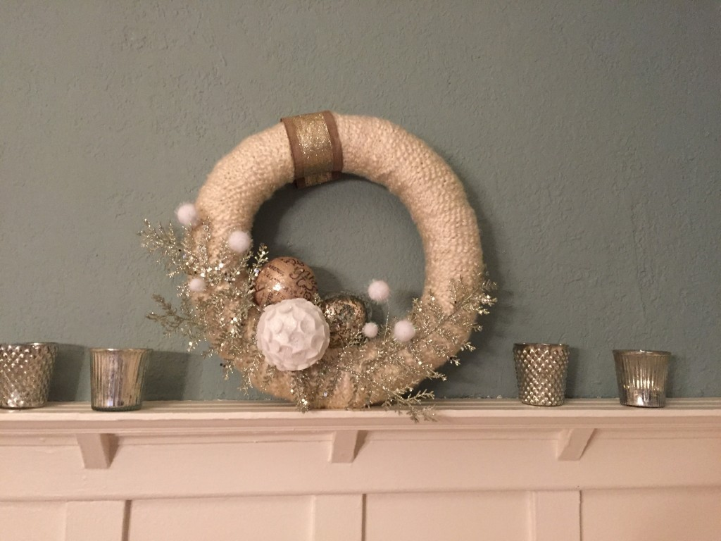 {One of my favorites - my friend Carrie made the wreath for me last Christmas!}