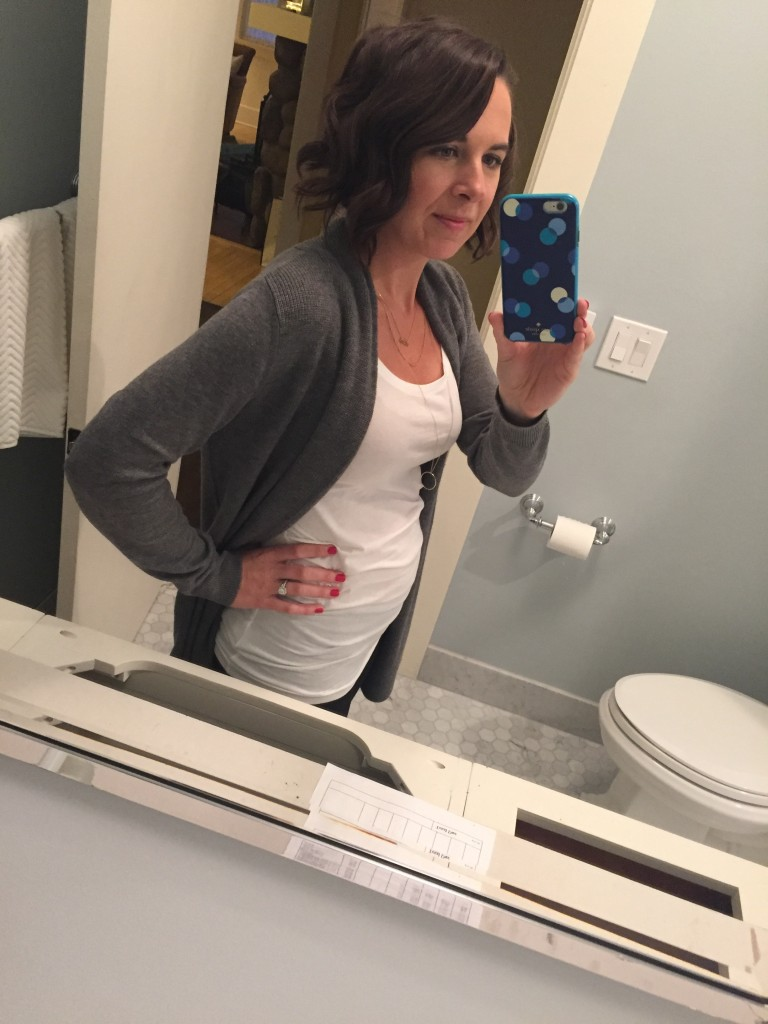 """{10 weeks and just starting to show! This was a really exciting day for me when things started to feel real. Throughout the whole first trimester I kept having this nagging question of """"am I making this up!?"""" in the back of my head.}"""