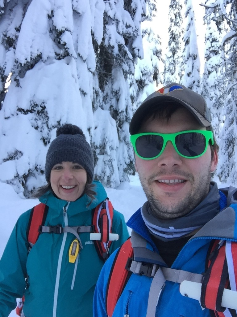 {Yesterday we braved the chilly weather {12 degrees with -2 windchill}  and embarked on our first backcountry ski tour together. The avalanche danger was very low and our trek was super mild. It was really fun to get out and explore and get some exercise together.}