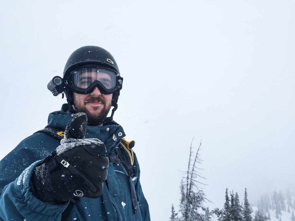 The face of a man who just skied untouched powder and is about to do it again.
