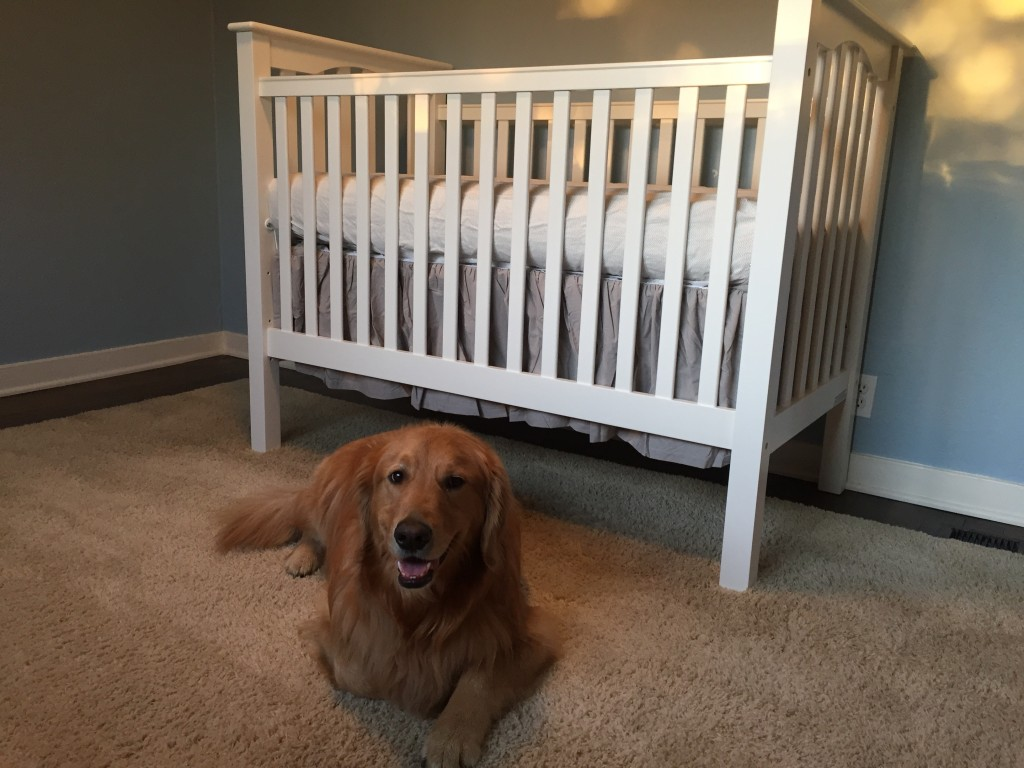 {Already protective of the crib! He's going to be such a good big brother to this little boy.}