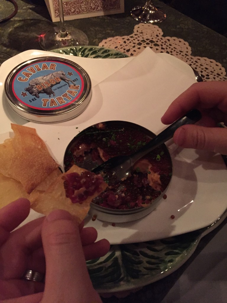 "{This was ""Tin of Tartar"" which had a layer of beef tartare topped with foie gras, covered with these little bubbles of worcestershire sauce. Because I can't have raw meat or foie gras, I got a delicious bison slider with little baby pickles, my own worcestershire caviar and crunchy fried onions. So good!}"