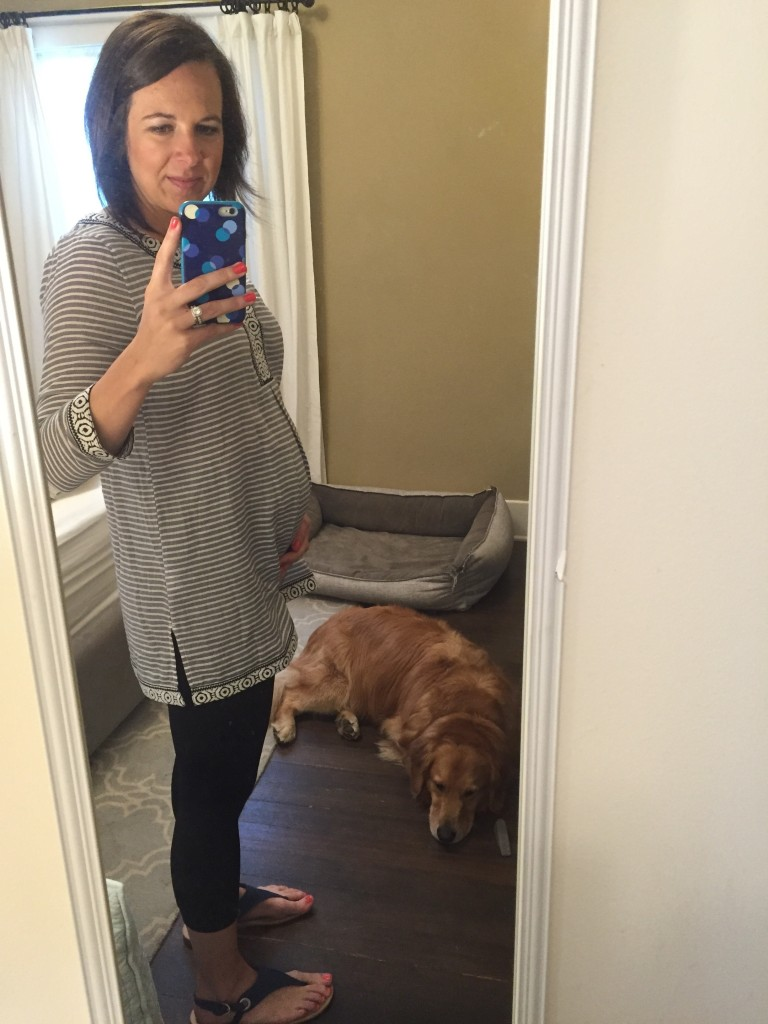 {Hello from Jackson and me today! Hanging out in my new comfy preggo outfit... Comfy is the theme these days!}