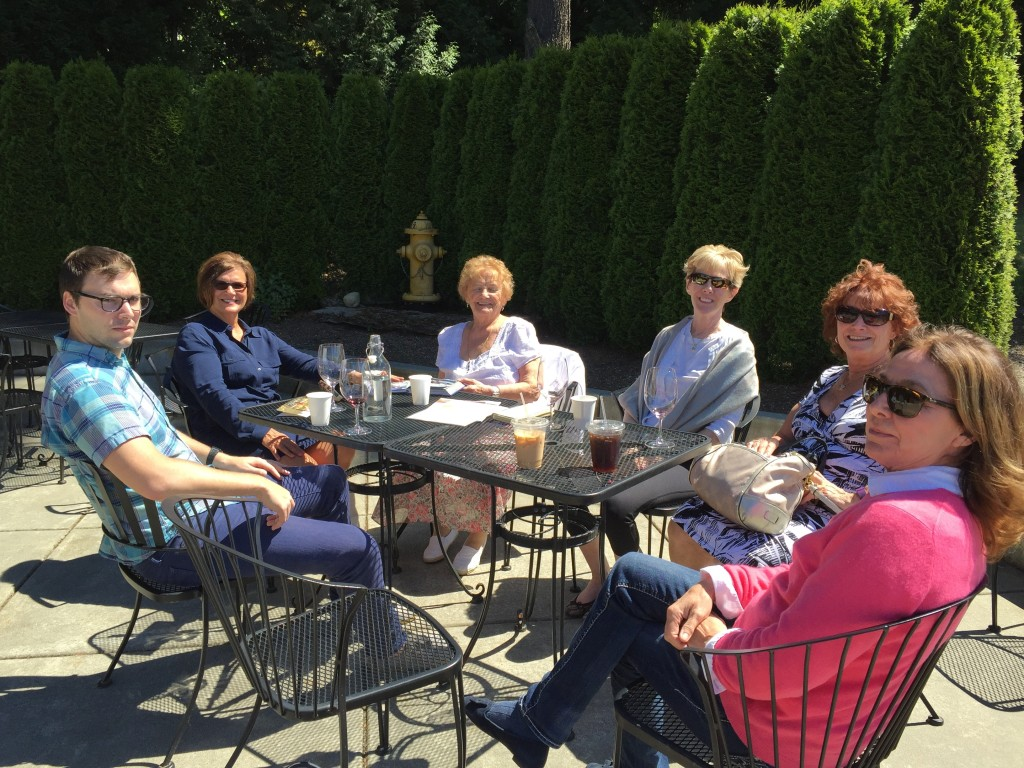 {Woodinville wine tasting on a sunny patio - not a bad way to spend the day!}