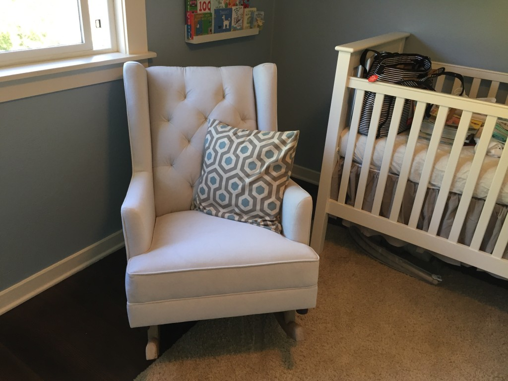 {This darn chair has been the biggest pain EVER. This is chair #2. We are awaiting chair #3 now. It's a gorgeous, amazingly comfy chair, but the first one arrived not only defective but in the wrong color, and the second one arrived in the wrong color, so we're hoping 3's the charm.}