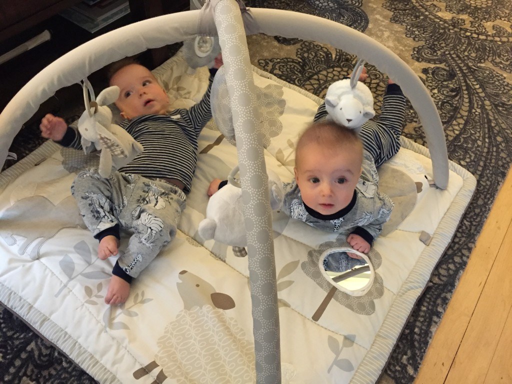 {August and Oliver came over to give some of our baby gear a test run... thankfully they approved of the play mat!}