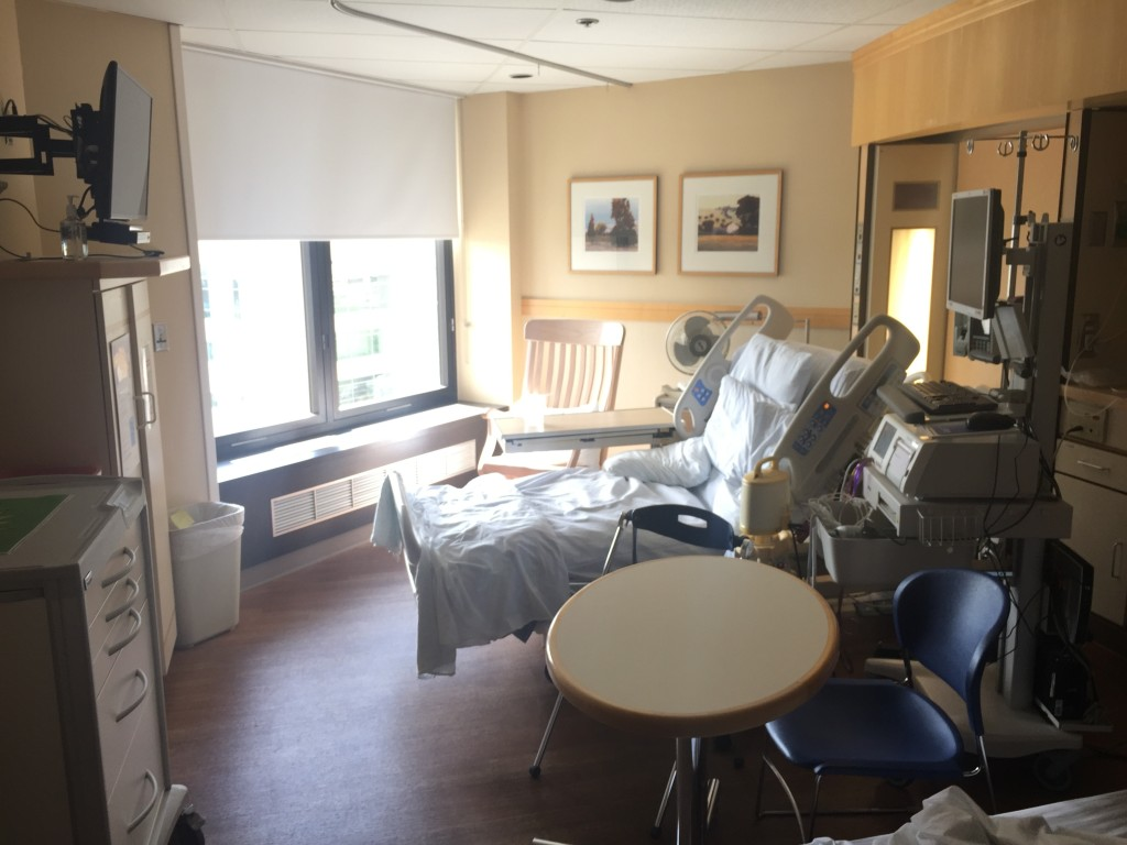 {my hospital room - on my third and final admission I spent 14 nights here.}