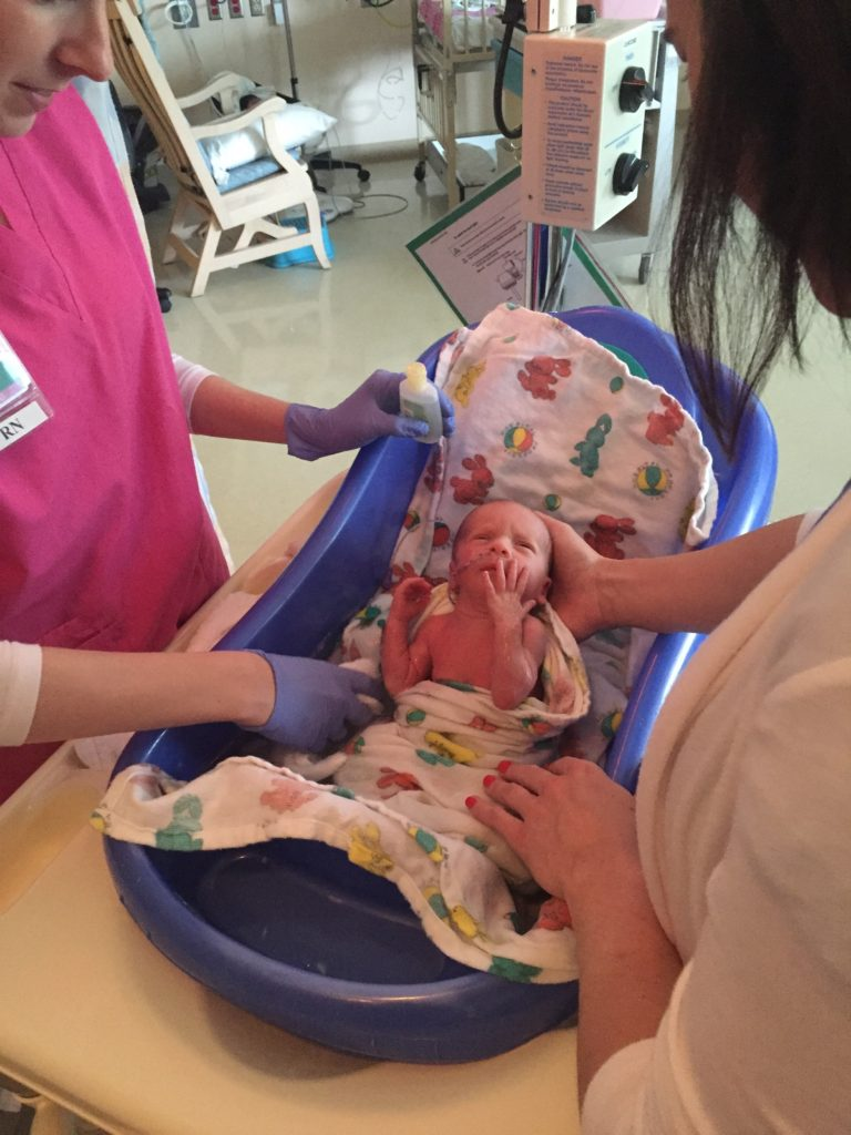 {Our primary nurse helped us give Ben a bath!}