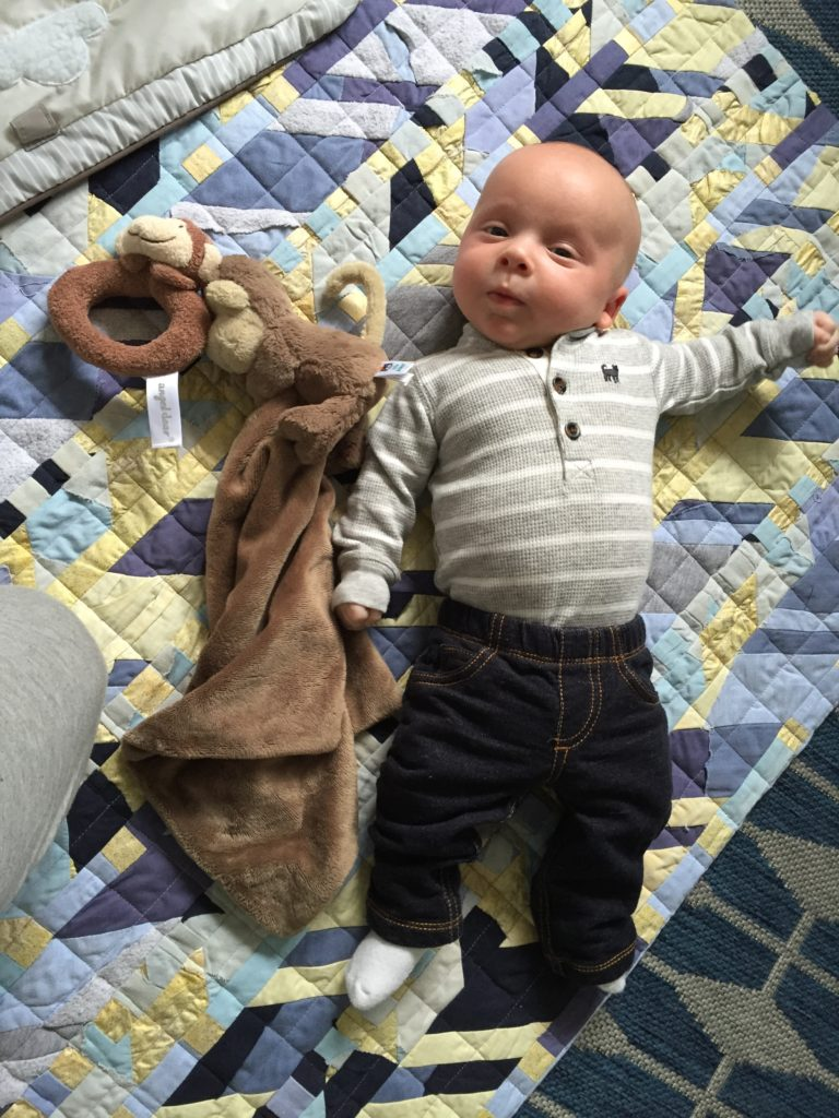 "{I couldn't get over this outfit... love this little guy in jeans! They're actually more like ""jeggings"" - I don't love the stiffness of actual jeans for a baby.}"